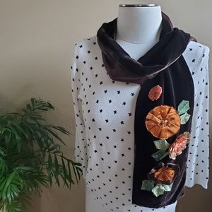 ECHO Brown Velvet Satin Scarf Ribbon Embroidery